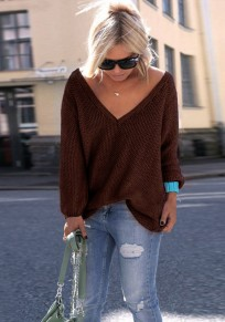 Coffee V-neck Long Sleeve Casual Dacron Pullover Sweater