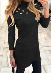 Black Plain Cut Out High Neck Fashion Pullover Sweater
