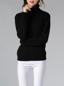 Black High Neck Long Sleeve Casual Pullover Sweater