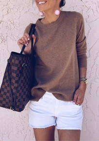 Brown Round Neck Long Sleeve Casual Cotton Pullover Sweater