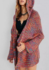 Multicolor Colorful Pockets Hooded V-neck Rough-knit Cardigan Sweater