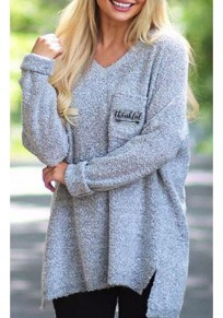 Grey Monogram Print Irregular Pockets High-low Slit Sparkly Long Sleeve Oversized Pullover Sweater