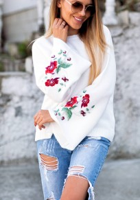 White Flowers Embroidery Round Neck Flare Sleeve Casual Mexican Pullover Sweater
