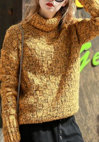 Yellow High Neck Long Sleeve Fashion Knitwear Jumper Pullover Sweater