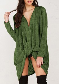 Moss Green Irregular V-neck Long Sleeve Wrap Loose Fashion Oversize Pullover Sweater