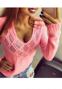 Pink Cut Out V-neck Long Sleeve Knitwear Pullover Sweater