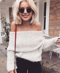 White Bandeau Fuzzy Off Shoulder Backless Long Sleeve Cute Pullover Sweater