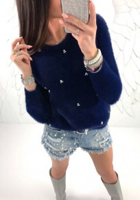Sapphire Blue Beading Round Neck Long Sleeve Fashion Pullover Sweater