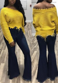 Yellow Irregular Off Shoulder Destroyed Slouchy Casual Long Sleeve Pullover Sweater