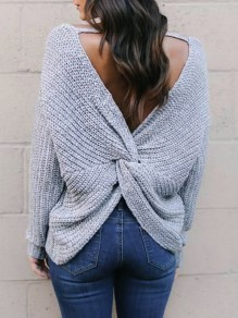 Grey Cross Back Backless V-neck Long Sleeve Fashion Knitwear Jumper Pullover Sweater