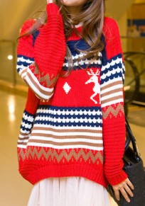 Red Floral Irregular Reindeer Christmas Round Neck Long Sleeve Pullover Sweater