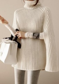 White Cut Out High Neck Fashion Oversized Cape Pullover Sweater
