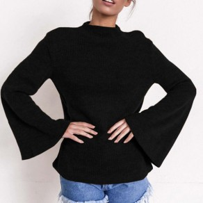 Black Round Neck Long Sleeve Fashion Pullover Sweater