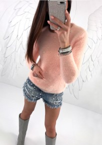 Pink Pearl Round Neck Long Sleeve Fashion Pullover Sweater