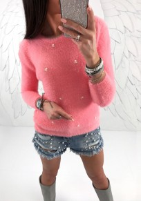 Rose Pearl Carmine Round Neck Long Sleeve Fashion Pullover Sweater