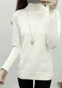 White Band Collar High Neck Long Sleeve Pullover Sweater