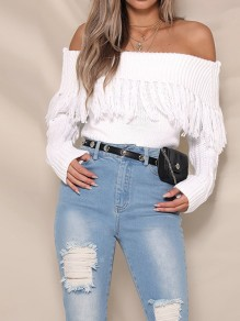 White Tassel Boat Neck Long Sleeve Fashion Pullover Sweater