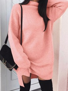 Pink Side Slit High Neck Long Sleeve Casual Pullover Sweater