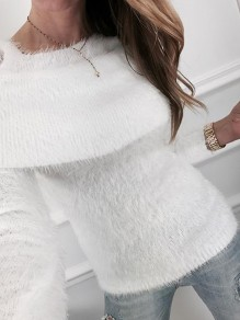 White Cut Out Long Sleeve Casual Pullover Sweater