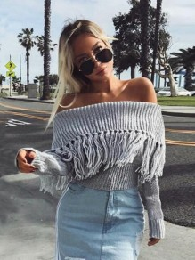Grey Tassel Long Sleeve Boat Neck Sweet Going out Pullover
