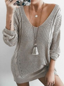 Grey Knit Plunging Neckline Long Sleeve Casual Sweater