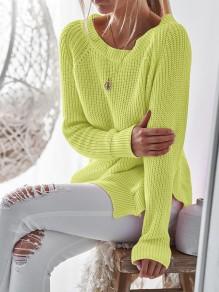 Yellow-Green Double Slit Round Neck Cute Pullover Sweater