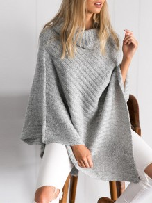 Grey Irregular Cloak Pile collar Fashion Pullover Sweater
