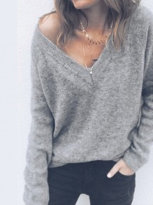 Grey One Shoulder V-neck Multi-Way Long Sleeve Slouchy Casual Pullover Sweater