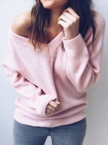 Pink V-neck Multi-Way Long Sleeve Slouchy Casual Pullover Sweater