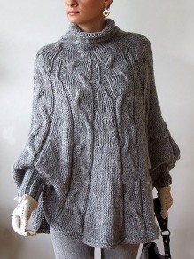 Gery High Neck Casual Knit Pullover Sweater