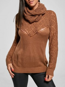 Brown Cut Out High Neck Long Sleeve Casual Sweater