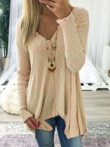 Coffee Irregular V-neck Long Sleeve Casual Pullover Sweater