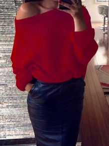 Red Asymmetric Shoulder Round Neck Long Sleeve Casual Sweater