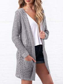 Grey Cut Out Long Sleeve Sweet Going out Casual Cardigan