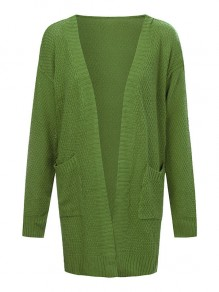 Green Pockets Long Sleeve Sweet Going out Casual Cardigan
