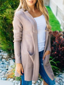 Pink Pockets Long Sleeve Sweet Going out Casual Cardigan