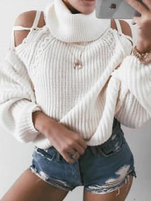 White Cut Out Bow High Neck Long Sleeve Casual Sweater
