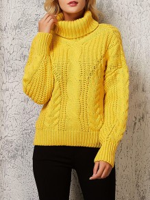 Yellow Print Long Sleeve High Neck Going out Pullover Sweater
