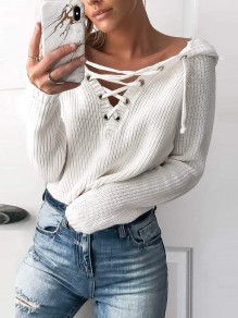 White Cut Out Lace-up Long Sleeve Going out Pullover Hooded Sweater