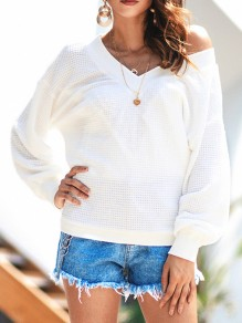 White One Shoulder V-neck Long Sleeve Casual Pullover Sweater
