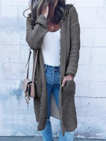 Grey Pockets Cut Out Round Neck Long Sleeve Casual Cardigans Sweater