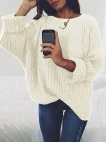 White Print Round Neck Long Sleeve Fashion Pullover Sweater