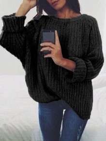 Black Print Round Neck Long Sleeve Fashion Pullover Sweater