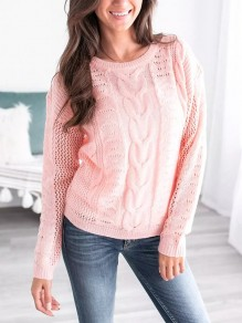 Pink Cut Out Long Sleeve Casual Going out Pullover Sweater