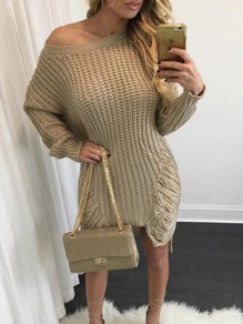 Khaki Cut Out Irregular Tassel Round Neck Long Sleeve Casual Sweater