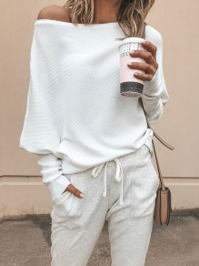 White Asymmetric Off Shoulder Long Sleeve Fashion Pullover Sweater