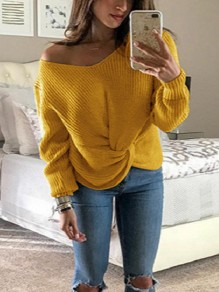 Yellow One Shoulder Irregular V-neck Long Sleeve Casual Pullover Sweater