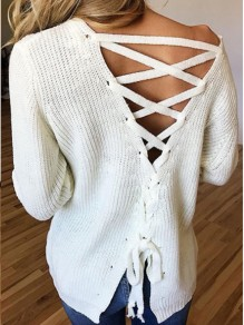 White Tie Back Lace-up One Off Shoulder Backless Long Sleeve Slouchy Sweaters Pullover