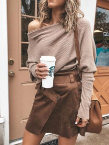 Khaki Asymmetric Shoulder Long Sleeve Going out Pullover Sweater