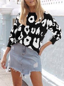 Black Leopard One Shoulder Long Sleeve Casual Pullover Sweater